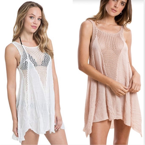 dce64faf5c Elan Swim | Crochet Inset Open Knit Dress Cover Up White | Poshmark